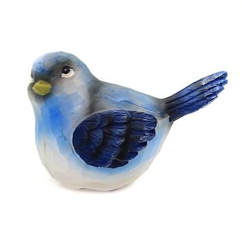 Animal SMALL TEXTURED BIRD Polyresin Wood Carved Look A3189 Blue