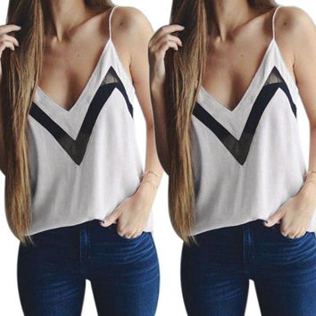 New Fashion Sexy Women Girl Women Summer V-neck Loose Sleeveless Casual Tank T-Shirt Tops