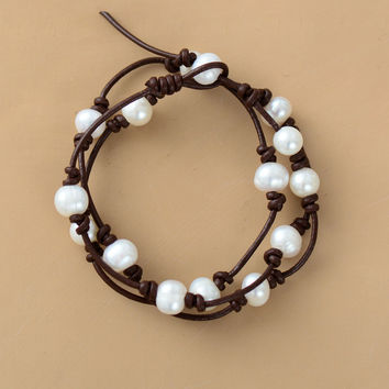Freshwater Pearl and Leather Cord Bracelet-In Stock
