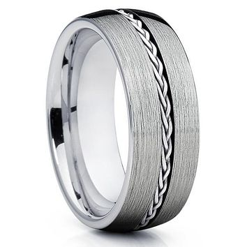 Tungsten Wedding Band - Braid Ring - Tungsten Wedding Ring - Silver Tungsten