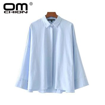 New Casual Solid Spliced Women Blouses Turn-down Collar Beading Flare Sleeve Shirts