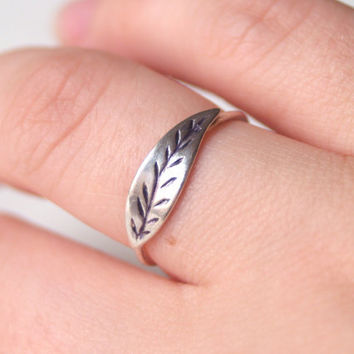Sterling Feather Ring by proteales on Etsy