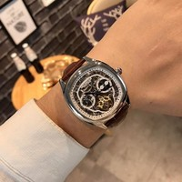 HCXX C036 Cartier Fashion Square Hollow Automatic Machinery Leather Watchand Watches Maroon Sliver White
