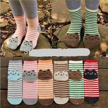 Stripes Cat Footprints Socks Funny Crazy Cool Novelty Cute Fun Funky Colorful