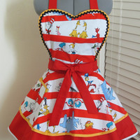 Sexy Heart Shaped Double flounce Dr. Seuss and Friends Apron - with a hint of ric rac - Ready to ship