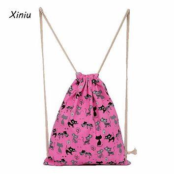Xiniu Women Backpacks for School Teenagers Girl Canvas for Cat Printing Backpack Bucket Double Shoulder Bag Leisure Bag#LREW