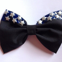 Starry Night Hair Bow Hairbow Stars Blue Midnight Dripping Melting Sky Hipster Galaxy Galaxies Tumblr Black Goth Gothic Emo Lolita Cute