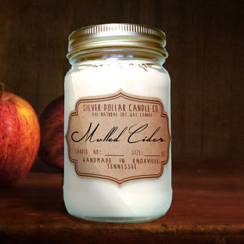 Mulled Cider 16oz Scented Candle | Fall scents, Mason Jar Candle, Apples scent, Cider scent, Thanksgiving, Christmas Candle, Christmas scent