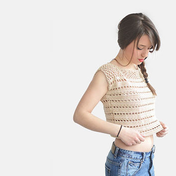 Hand Knit Womens Top, Crochet Crop Top, Lace Cotton Short Knitted Top in Light Cream / Hand Crocheted
