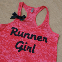 Runner Girl. Midnight Black on Fuchsia Pink racerback burnout tank top. S-2XL. Exercise Shirt. Gym. Runner. Run. Marathon.