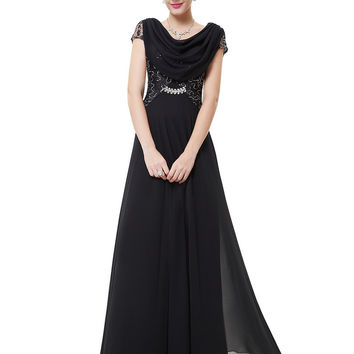 Black Draped Neck Sequin Lace Insert Rhinestone Waist Maxi Dress