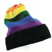 Rainbow Black Brim Winter Hat - Lesbian Gay Pride Flag Apparel Costume Cap LGBT