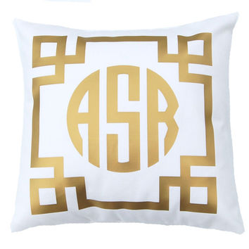 Gold Monogram Pillow, Monogram, Personalized Gift Metallic Pillow Throw Pillow Cover, Gold Pillow, Dorm Decor, Monogram Cushion
