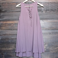 mauve shift dress with lace-up front