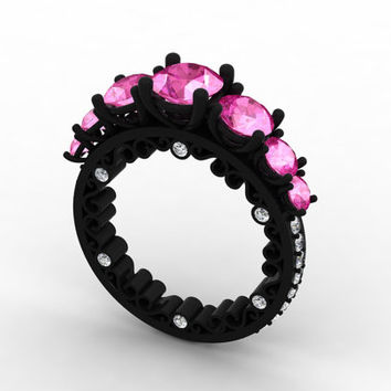 The Perfect Union of High Style Fashion and Beautifully Crafted Design 14k Black Gold Diamond and Pink Sapphire  Ring Item # Love-0460