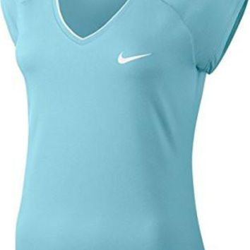 Nike Women's Court Tennis Top (X-Large, Still Blue/White)