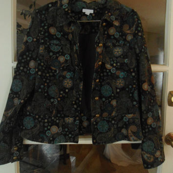 Size Large Vintage Corduroy  Paisley and Flower Blue Green Brown Beige Old Hippie Jacket Hippy Style Coat