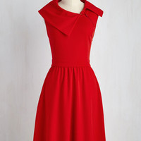 Mid-length Sleeveless A-line Trolley Tour Dress in Ruby