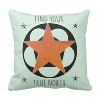 True North Star Throw Pillow