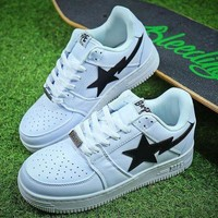 PEAPNW6 Bape Sta Sneakers White Black Shoes-1