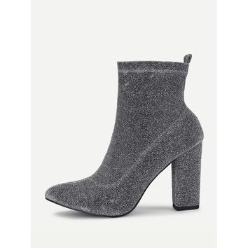 Silver Almond Toe Ankle Block Heel Boots