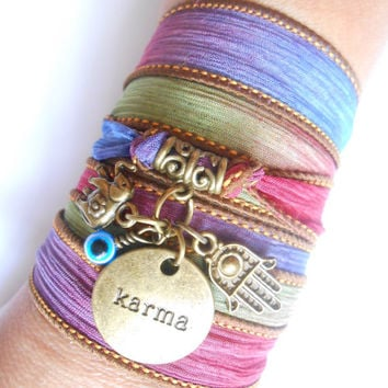 Bohemian Karma Yoga jewelry Silk wrap Spiritual bracelet Hamsa Hand of Fatima Evil Eye Protection jewelry Lucky Elephant bracelet
