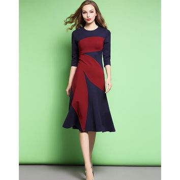 Victoria Beckham Color Splicing Dresses O-Neck Three Quarter Sleeves Ankle-Length Cotton Woman