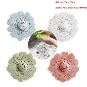 1Pcs Hot Sale Silicone Kitchen Cleaner Sink Filter Sewer Drain Hair Colanders/Strainers Filter Bathroom Hair Catcher with Sucker