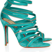 Christian Louboutin | 20th Anniversary Unzip 100 suede sandals | NET-A-PORTER.COM