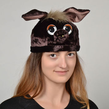 Children's cool handmade fashionable carnival animal brown hats for babies Piggy