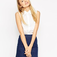 ASOS Sleeveless White Shirt With Scallop Collar