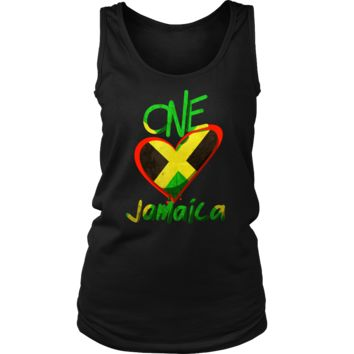 Jamaica One Love Reggae Carribean Music Pride Flag Women's Tank Top Shirt