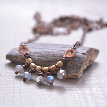 Wire Wrapped Rustic Tribal Labradorite Gemstone Necklace // Copper Necklace // Bohemian Jewelry