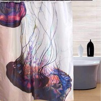 Jellyfish Pattern Polyester Shower Curtain