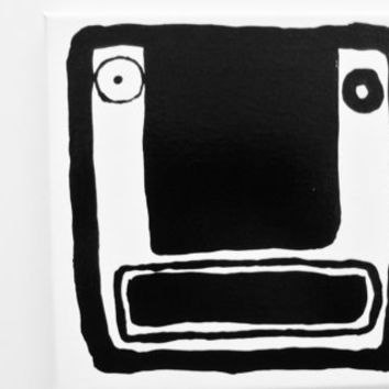 Original Geometric Painting Black and White Painting Abstract Face Painting Man Face Modern Painting Black and White Art - 8 x 8 inch Canvas