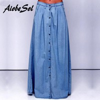Summer 2016 Women Long Denim Skirt Femme Casual Loose High Waisted Single Breasted Maxi Jean Skirt Saias Feminina 3XL