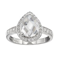 Sophie Miller Cubic Zirconia Sterling Silver Teardrop Halo Ring (White)
