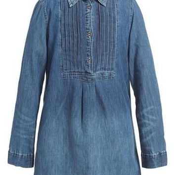 Girl's Ralph Lauren Pleated Denim Shirtdress,