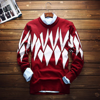 Mens Slim Fit Round Collar Knitwear Sweater