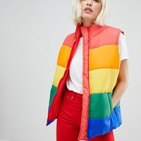 Daisy Street padded gilet in rainbow stripe at asos.com