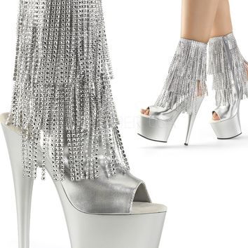 Simulated Rhinestone Fringe Ankle Boot-Stripper Boots