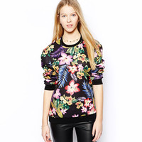 Floral Roll-up Sweatshirt