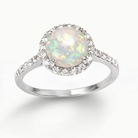 Sophie Miller Sterling Silver Lab-Created Opal & Cubic Zirconia Halo Ring