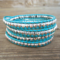 Beaded Leather Wrap Bracelet 4 Wrap with Silver Czech Glass Beads on Turquoise Leather