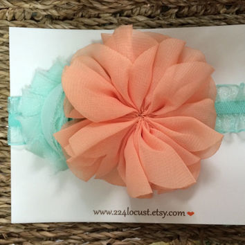 Headband, Baby Headband, Mint and Peach, Photo Prop, Photography Prop, Baby, Girl, Headband, Hair Accessory, Headband, Flower, Flower Headba