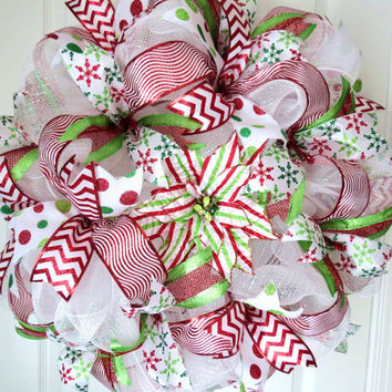 Christmas Mesh Door Wreath, Holiday Mesh Wreath, Christmas Wreath, Holiday Wreath, Red and Green Christmas Wreath, Ribbon Wreath, Wreath