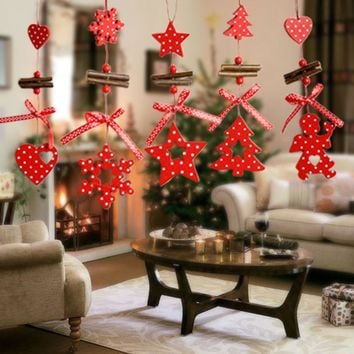 Wind Chimes Christmas Tree Ornaments Snowflake Heart Star Bell Xmas Party Home Christmas Decor Navidad Decoration 171122