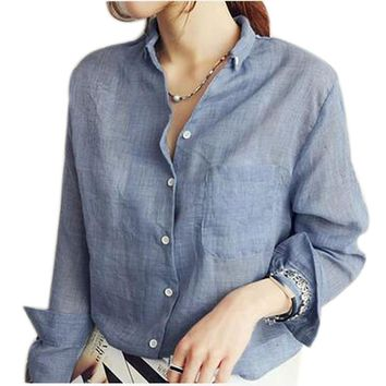 Vetement Femme Long Sleeve Shirt Women Clothes 2017 Womens Tops Fashion Women Blouses Linen Cotton White Blouse Plus Size Blusas