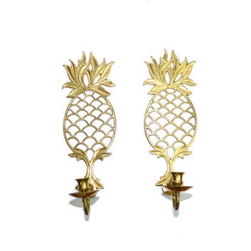 Pineapple Wall Sconces Pineapple Candle holders Brass Pineapple Candle Holders Pineapple Wall Decor