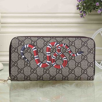 Gucci Women Leather Animal Print Purse Wallet For Snake Tiger Bee
